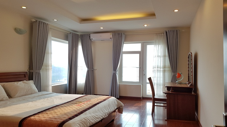 Balcony 1 – bedroom apartment with lake – view in Yen Hoa street, Tay Ho district for rent